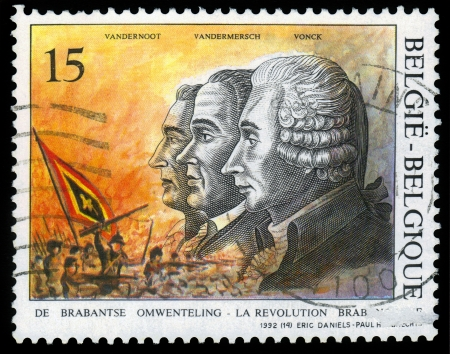 BELGIUM - CIRCA 1992  A stamp printed in Belgium shows leaders of the Brabant Revolution, Vandernoot, Vandermersch and Vonck, circa 1992