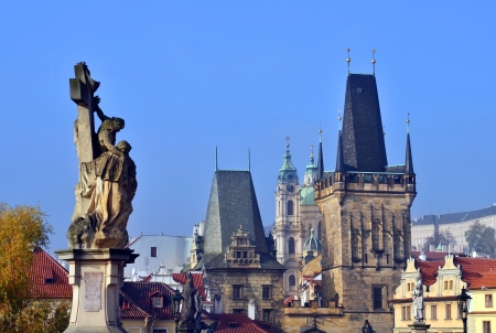 views of the Gothic Prague near Charles Bridge, Czech Republic photo