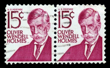 UNITED STATES OF AMERICA - CIRCA 1968  a stamp printed in the United States of America shows Oliver Wendell Holmes, poet and physician, circa 1968