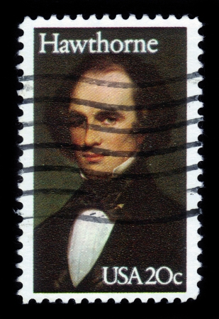 hawthorne: UNITED STATES - CIRCA 1983  a stamp printed in USA shows portrait of Nathaniel Hawthorne by Charles Osgood, 1841  Peabody Essex Museum , circa 1983