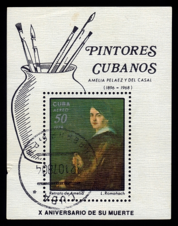 casal: CUBA - CIRCA 1978  A stamp printed in Cuba shows image of artist L Romanach  Portrait of Amelia Pelaez y Del Casal , was an important cuban painter of the avant-garde generation, circa 1978