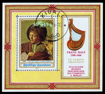 frans: RWANDA - CIRCA 1969  A stamp printed in Rwanda shows picture by artist Frans Hals  Singing Boy with a Flute , circa 1969 Editorial