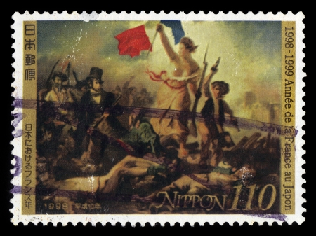eugene: Japan - CIRCA 1998  a postage stamp printed in Japan showing Liberty Leading the People, painting by Eugene Delacroix painting , circa 1998