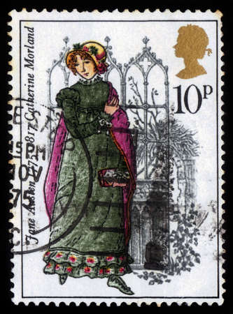jane: UNITED KINGDOM - CIRCA 1975  A stamp printed in United Kingdom shows Catherine Morland by Jane Austen, circa 1975  Editorial