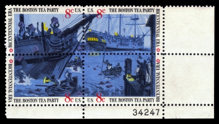 boston tea party: UNITED STATES - CIRCA 1973  a set of four postage stamps printed in USA showing an The Boston Tea Party, was a nonviolent political protest by the Sons of Liberty in Boston, on December 16, 1773, circa 1973
