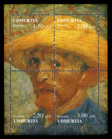 van gogh: Republic Udmurtia - CIRCA 1998  a postage stamp printed in Russia showing an image of a Vincent  Van Gogh self portrait , circa 1998