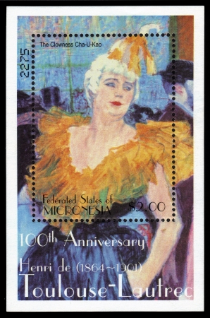 rouge: Federated States of Micronesia - CIRCA 2001  a postage stamp printed in Micronesia showing an the clowness Cha U Kno in the Moulin Rouge, 100th anniversary Henri de Toulouse- Lautrec, circa 2001