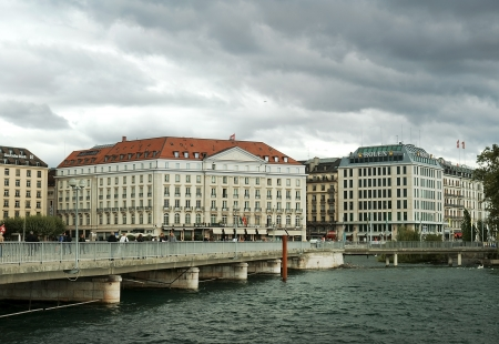 GENEVA, Switzerland - September 01  Luxury hotel   Four Seasons Hotel des Bergues  , situated at Lake Geneva in the heart of Geneva, Switzerland, Europe; September 01, 2012  The hotel has 115 guest rooms and suites