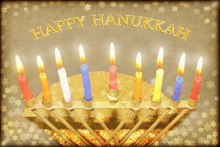Hanukkah greeting card - Hanukkah menorah with burning candles with the inscription Happy Hanukkah