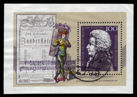 amadeus mozart: GERMANY - CIRCA 1991  a stamp printed in the Germany shows Wolfgang Amadeus Mozart, Composer, circa 1991