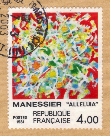 France - CIRCA 1981  A stamp printed in France shows alleluia, stained glass window by Alfred Manessier, circa 1981