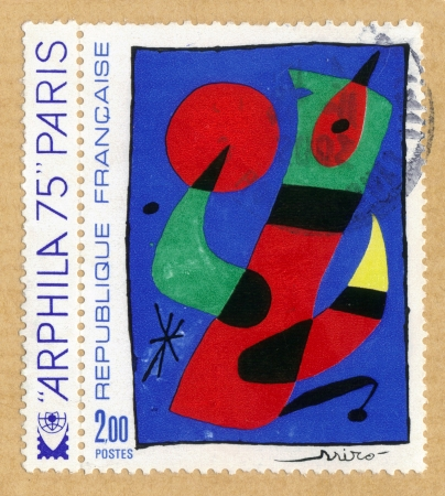 FRANCE - CIRCA 1974  a stamp printed in France shows an Juan Miro painting , circa 1974