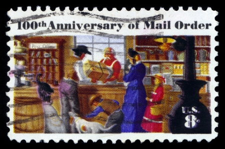 montgomery: USA - CIRCA 1972  a stamp printed in the USA, centenary of mail order business, originated by Aaron Montgomery Ward, Chicago, shows a Rural Post Office Store, circa 1972