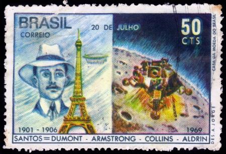 Brazil - CIRCA 1969  stamp printed by Brazil, shows Alberto Santos Dumont, brazilian aviation pioneer, circa 1969 photo