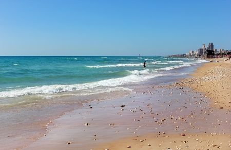 sandy beach on the Mediterranean Sea near Haifa, Israel photo