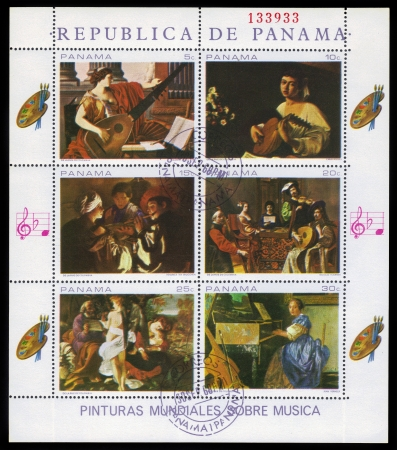 PANAMA - CIRCA 1968  a stamp printed in the Panama shows old masters paintings, which depict musicians playing various instruments, circa 1968