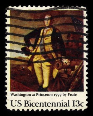 USA - CIRCA 1977  A stamp printed in United States of America shows    Washington at Princeton, 1777  painting by Peale, circa 1977