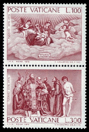 gospels: VATICAN - CIRCA 1976  a stamp printed in the VATICAN shows a paintings by Tiziano   Titian   Vecellio from the Gospels, circa 1976 Editorial
