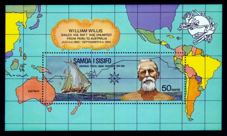 willis: SAMOA - CIRCA 1974  A stamp printed in Samoa shows portrait of William Willis, was an american sailor and writer, issued for the 100th anniversary of William Willis, circa 1974