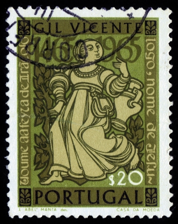 dramatist: PORTUGAL - CIRCA 1964  A stamp printed in Portugal shows woman, character from Gil Vincente, was chief dramatist of Portugal, circa 1964