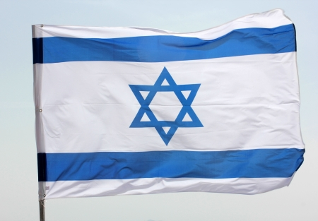 Star of David on a blue and white Israeli flag Stock Photo