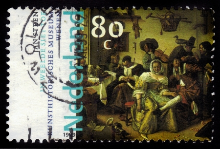 NETHERLANDS - CIRCA 1999  A stamp printed in Netherlands shows   In Luxury, Look Out   by Jan Steen, series, circa 1999