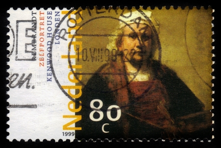 REMBRANDT: NETHERLANDS - CIRCA 1999  A stamp printed in Netherlands shows  Self-portrait   by Rembrandt, series, circa 1999