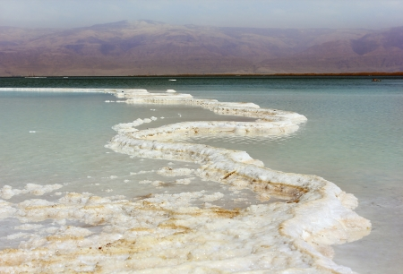 salt deposits in the Dead Sea, Israel photo