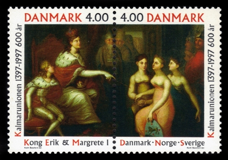 DENMARK - CIRCA 1997  A stamp printed in Denmark shows a painting by unknown danish painter, devoted to 600th anniversary of  Kalmar Union, circa 1997