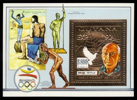 GUAYANA - CIRCA 1992  A stamp printed in Guyana shows portrait of Pablo Picasso on the background of world-famous works of art, in honor of the Olympic Games in Barcelona, circa 1992 Editorial