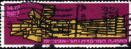 tel: ISRAEL - CIRCA 1967  A stamp printed in Israel, shows schematic illustration of the central bus station in Tel Aviv, circa 1967