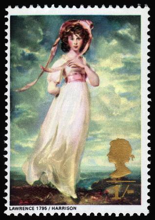 dedo me�ique: GRAN BRETA�A - CIRCA 1968 un sello impreso en el Reino Unido muestra Pinkie, la se�orita Sarah Moulton-Barrett, por Sir Thomas Lawrence, alrededor del a�o 1968