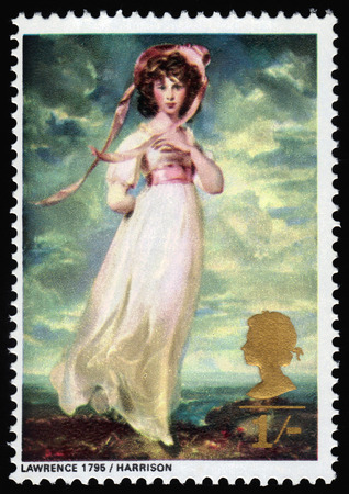 barrett: GREAT BRITAIN - CIRCA 1968  a stamp printed in the UK shows Pinkie, Miss Sarah Moulton-Barrett, by Sir Thomas Lawrence, circa 1968