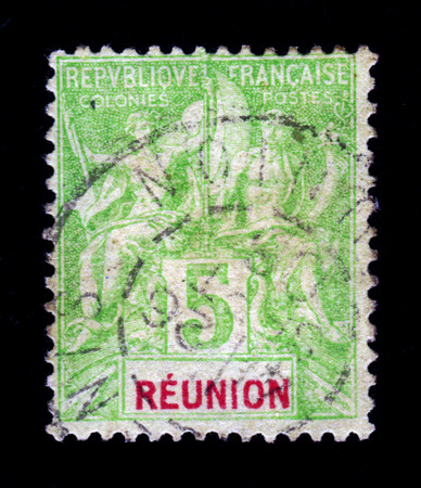 indian postal stamp: Reunion   region of France   - CIRCA 1903  a stamp printed in the France shows allegorical images of the ancient Greek gods, circa 1903