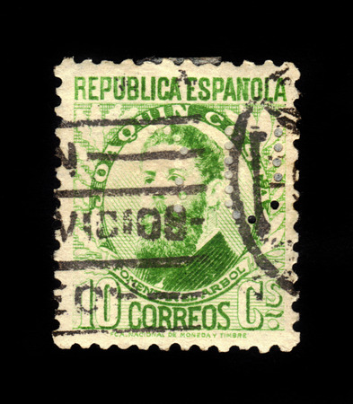 joaquin: SPAIN - CIRCA 1931  a stamp printed in the Spain shows Joaquin Costa, was a spanish politician, lawyer, economist and historian, circa 1931