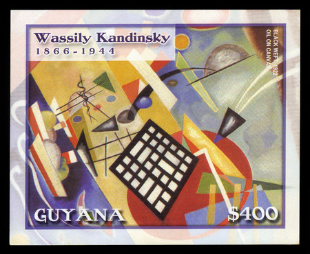 Guyana - CIRCA 2003  A stamp printed in Guyana shows painting by Wassily Kandinsky, black weft, circa 2003