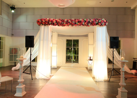 jewish traditional wedding ceremony  wedding canopy  chuppah or huppah  in jewish tradition Stock Photo - 25902366