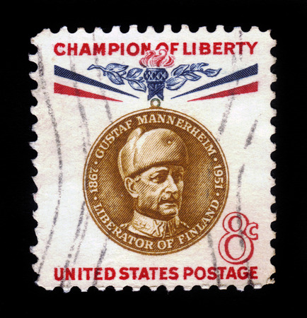 liberator: UNITED STATES - CIRCA 1960  stamp printed by United states, shows Baron Gustaf Emil Mannerheim, series champion of liberty, circa 1960
