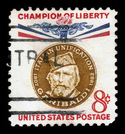 freedom fighter: UNITED STATES - CIRCA 1960  stamp printed by United states, shows Giuseppe Garibaldi, Italian patriot and freedom fighter, general and politician, series champion of liberty, circa 1960 Editorial