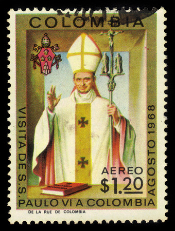 vi: COLOMBIA - CIRCA 1968  a stamp printed in the Colombia shows Pope Paul VI, Visit of Pope Paul VI to Colombia, circa 1968 Editorial