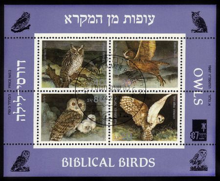 ISRAEL - CIRCA 1987  A stamp   souvenir sheet   printed in the Israel shows biblical birds - owls, series, circa 1987