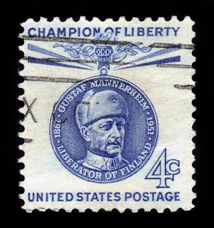 gustaf: UNITED STATES - CIRCA 1960  stamp printed by United states, shows Baron Gustaf Emil Mannerheim, blue, series champion of liberty, circa 1960