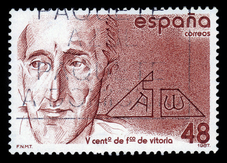 theologian: Spain - CIRCA 1987  A stamp printed in Spain shows portrait of Francisco de Vitoria, spanish renaissance roman catholic philosopher, theologian and jurist, circa 1987
