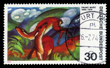 expressionist: GERMANY - CIRCA 1974  a stamp printed in the Germany shows Deer in Red, Painting by Franz Marc, German Expressionist Painter, circa 1974 Editorial