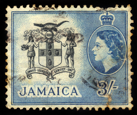 JAMAICA - CIRCA 1956  A stamp printed in Jamaica shows coat of arms of Jamaica, circa 1956