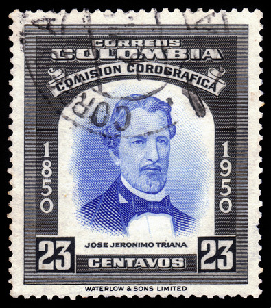silva: Colombia - CIRCA 1950  A stamp printed in Colombia, shows a portrait of Jose Jeronimo Triana Silva, colombian botanist, circa 1950 Editorial