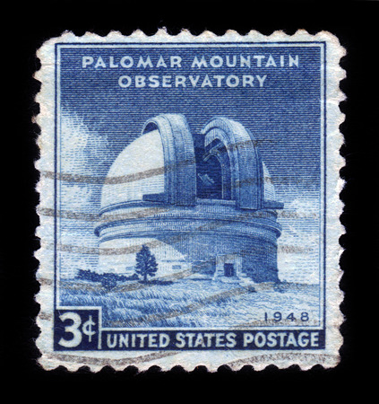 UNITED STATES OF AMERICA - CIRCA 1948  A stamp printed in USA shows the Palomar Mountain Observatory, circa 1948