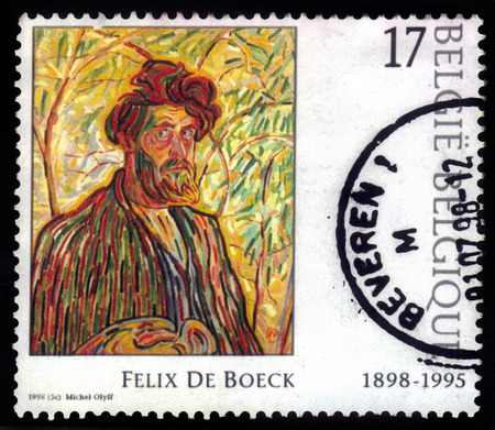 felix: Belgium - CIRCA 1998  A stamp printed in Belgium shows picture of a Self Portrait  the man with the beard  , painted by Felix de Boeck, circa 1998 Editorial