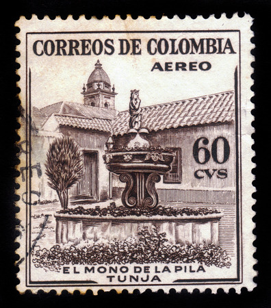 pila: COLOMBIA - CIRCA 1954  A postage stamp printed in Colombia shows the La Pila del Mono Fountain in Tunja, circa 1954