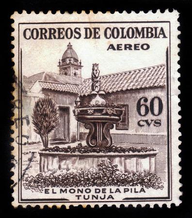 pila: COLOMBIA - CIRCA 1954  A postage stamp printed in Colombia shows the La Pila del Mono Fountain in Tunja, circa 1954